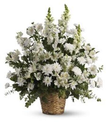 Serene White Traditional Funeral Basket from Dill's Floral Haven, local florist in Belleville, IL