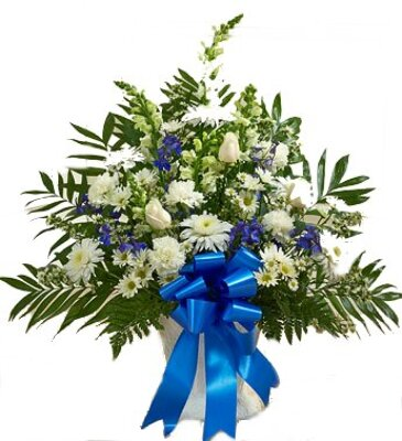 Blue and White Funeral Arrangement from Dill's Floral Haven, local florist in Belleville, IL