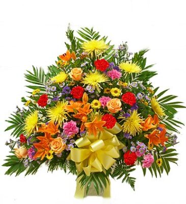 Bright Mixed Color Funeral Arrangement from Dill's Floral Haven, local florist in Belleville, IL