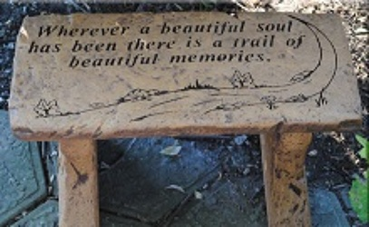 Trail of Beautiful Memories Sympathy Bench from Dill's Floral Haven, local florist in Belleville, IL