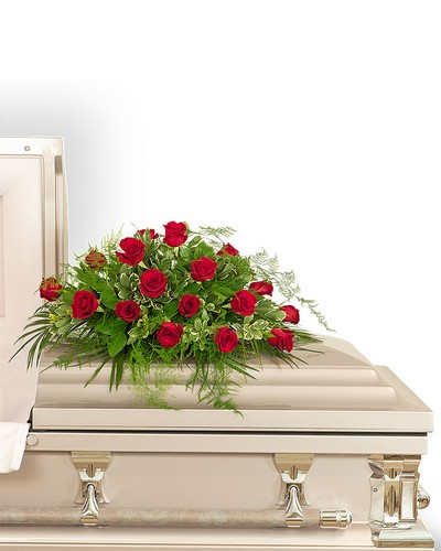 18 Red Roses Casket Spray from Dill's Floral Haven, local florist in Belleville, IL