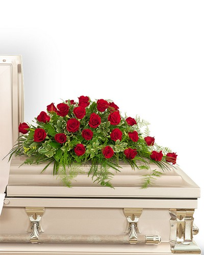 24 Red Roses Casket Spray from Dill's Floral Haven, local florist in Belleville, IL