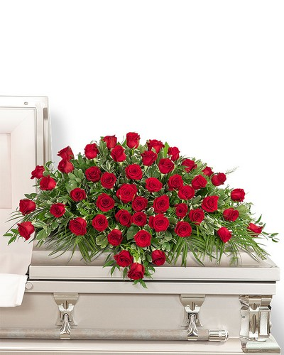 50 Red Roses Casket Spray from Dill's Floral Haven, local florist in Belleville, IL