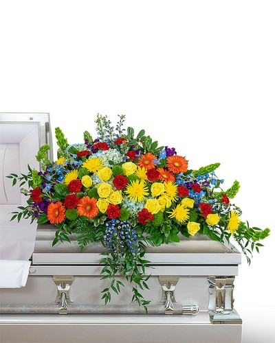 Vibrant Life Casket Spray from Dill's Floral Haven, local florist in Belleville, IL