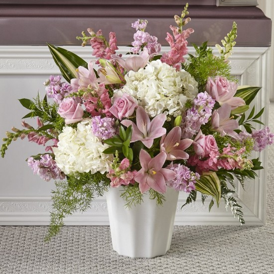 The FTD Simply Serene Floor Basket from Dill's Floral Haven, local florist in Belleville, IL